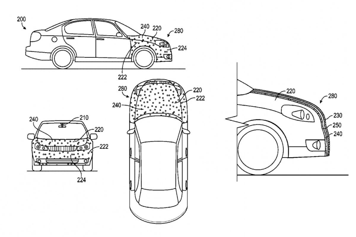 google patenteert zelfklevende motorkap